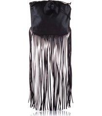 bottega veneta the fringe pouch leather shoulder bag black sz: m