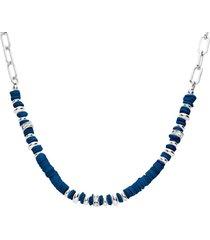 collana in ottone rodiato con elementi conchiglia blu e strass per donna