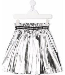andorine metallic-effect flared skirt - silver
