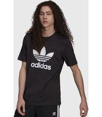 polera adidas originals trefoil t-shirt negro - calce regular