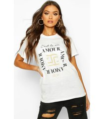 amour slogan t-shirt, white