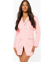 getailleerde wikkel blazer jurk, soft pink