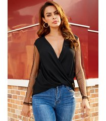 yoins black semi sheer deep v neck blouse