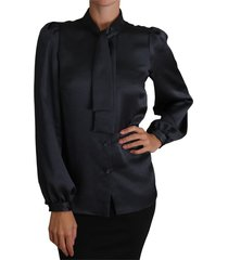 pussy bow top tie neck shirt