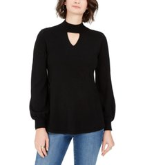 style & co plus size bishop-sleeve choker tunic sweater, created for macy's