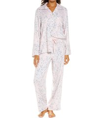 women's papinelle cherry blossom pink cozy pajamas, size large - pink