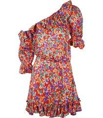 saint laurent one-shoulder floral printed asymmetric dress