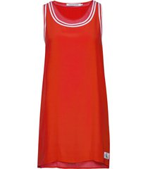 tank dress with mesh korte jurk rood calvin klein jeans