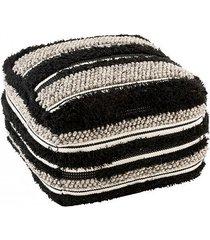 pufa podnóżek fluffy black/white