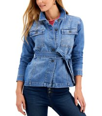 style & co petite belted denim shirt jacket, created for macy's