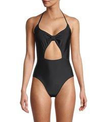 sam edelman women's front-tie one-piece swimsuit - black - size s