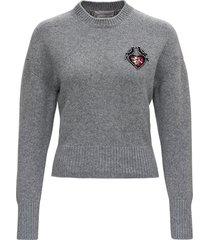 alexander mcqueen grey wool sweater with love birds patch