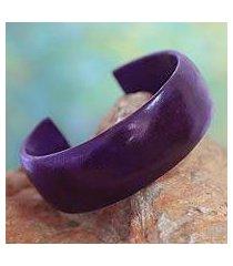 leather cuff bracelet, 'annula in purple' (ghana)