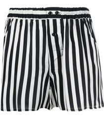 laneus black and white vertical stripe print shorts