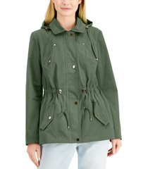 charter club petite water-resistant hooded anorak jacket, created for macy's