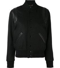 saint laurent leather trim varsity jacket - black