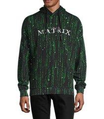 eleven paris men's knit printed hoodie - black - size l