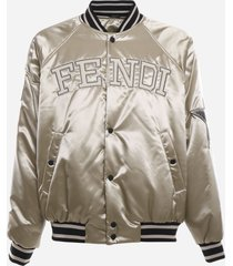 fendi satin bomber jacket with logo lettering and maxi patches