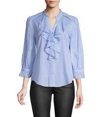 stripe ruffle-front cotton shirt