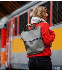 plecak / torba 2 w 1 z szarej skóry ekologicznej