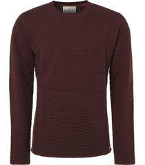 no excess pullover r-neck, plated jacquard brick
