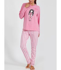 pyjama's / nachthemden admas pyjama broek top lange mouwen goodnight gorjuss santoro roze