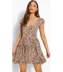 bloemenprint skater jurk met geplooide buste, pink