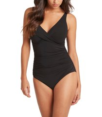 sea level cross front one-piece swimsuit, size 16 us in black at nordstrom