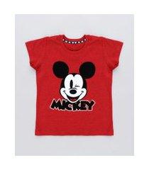 camiseta infantil mickey manga curta gola careca vermelha
