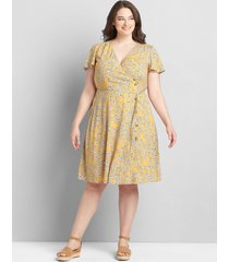 lane bryant women's printed button-front fit & flare dress 28 yellow floral