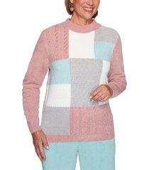 alfred dunner petite st. moritz chenille colorblocked sweater