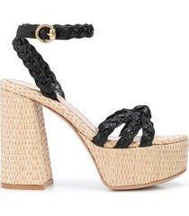 gianvito rossi braided strap platform sandals - black