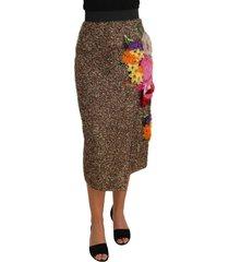 floral silk onder de knie shift rok