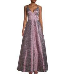 ml monique lhuillier women's metallic floral ball gown - berry multi - size 0