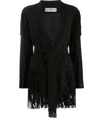 jessie western fringed wrap jacket - black