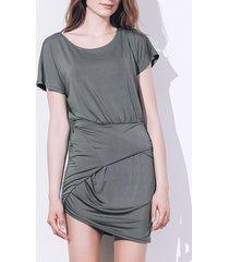 sexy short sleeve scoop neck asymmetrical women's dress