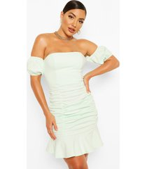 off the shoulder rouched frill hem mini dress, mint