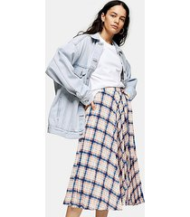 check pleated midi skirt - multi