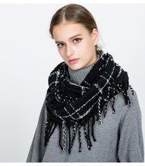 donna sciarpa in cotone a scacchi con frange di stile casual alla moda caldo