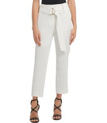 dkny petite high-waist d-ring belt dress pants