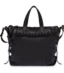 miu miu braided-handle leather tote bag - black
