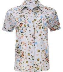 camisa flores de colores color azul, talla 10