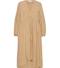 2nd oakley check jurk knielengte geel 2ndday
