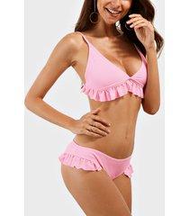 bikini rosa con volantes triangulares