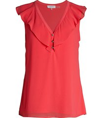 calvin klein women's ruffle-trim blouse - watermelon - size xs