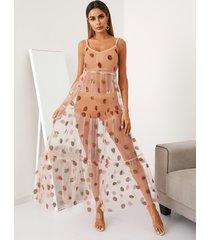 yoins rosa malla espagueti fresa diseño escalonado maxi vestido