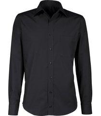 giovanni capraro heren overhemd zwart semi spread ml7 comfort fit