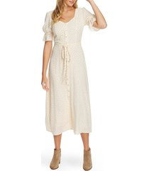 women's 1.state scatter dot puff sleeve midi dress, size 12 - ivory