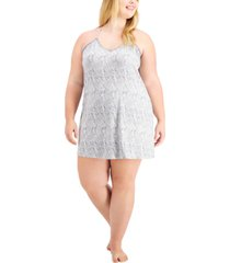 inc plus size lace-trim printed chemise nightgown, created for macy's
