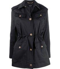 versace barocco drawstring waist jacket - black